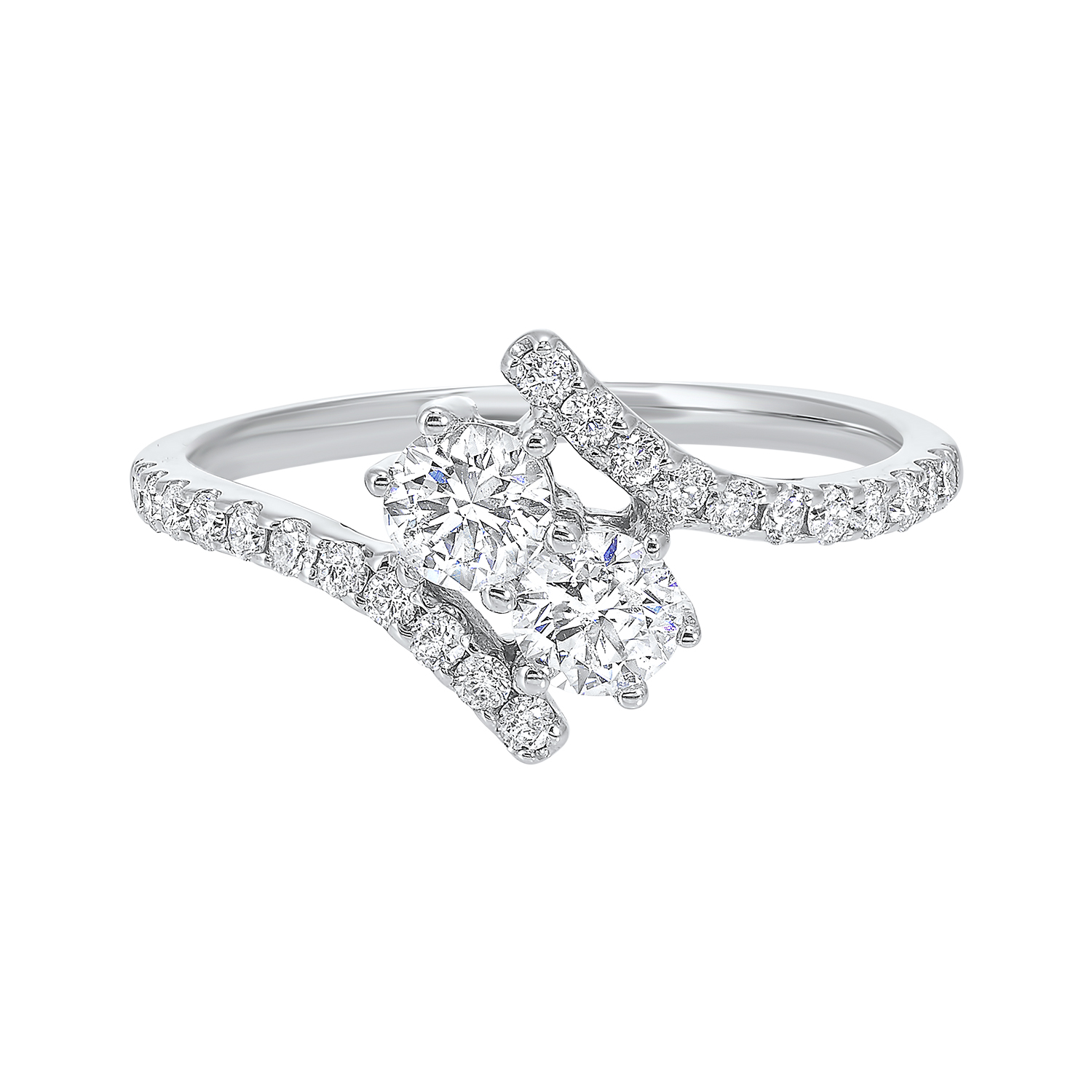Twogether Two Stone Diamond Ring in 14K White Gold (3/4 ct. tw.) by Gems One