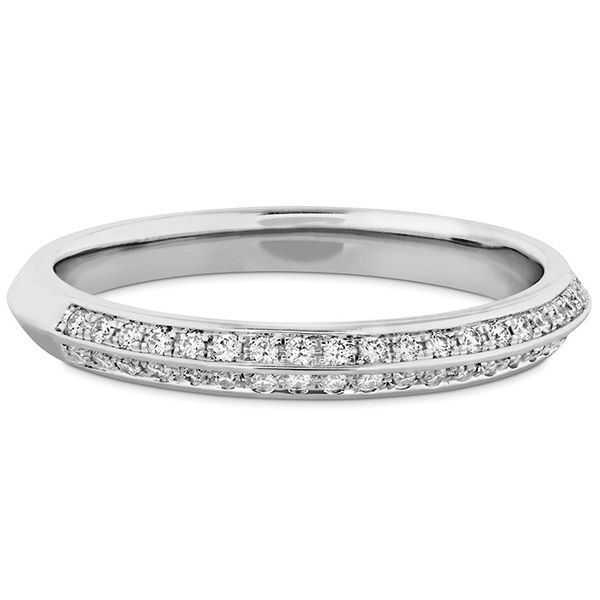 Ladies Diamond Wedding Rings - 0.18 ctw. Camilla Pave Knife Edge Band in Platinum - image #3