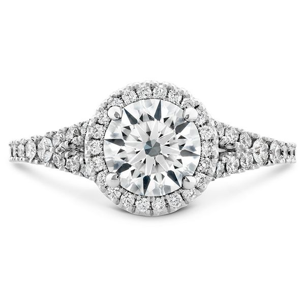0.35 ctw. Transcend Premier HOF Halo Split Shank Engagement Ring in 18K White Gold by Hearts On Fire