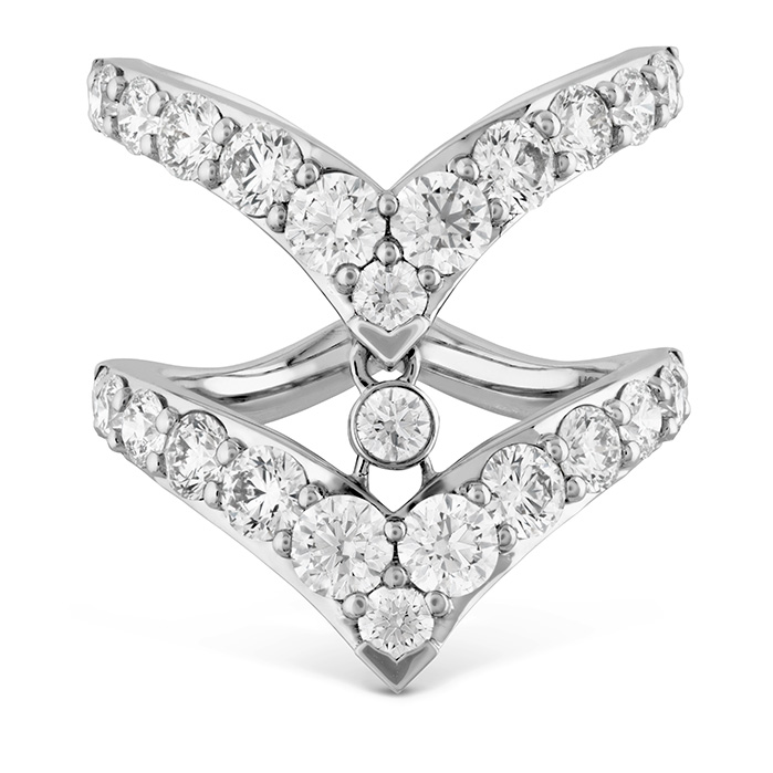 2.65 ctw. Triplicity Double Pointed Ring in 18K White Gold by Hearts On Fire