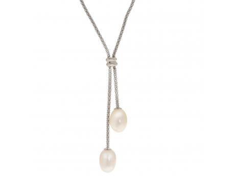 A classic look at an affordable price, made with venetian box chain this lariat necklace boasts two beautiful freshwater cultured pearls.