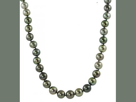 14K White Gold Tahitian Pearl Necklace Mitchell's Jewelry Norman, OK
