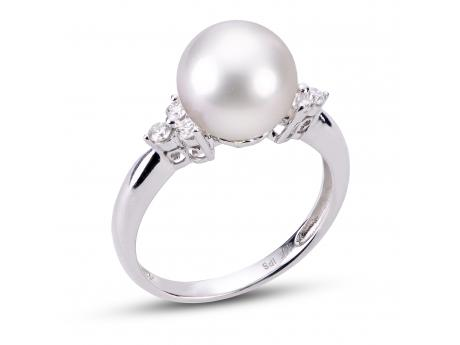 14K White Gold Akoya Pearl Ring Rick's Jewelers California, MD