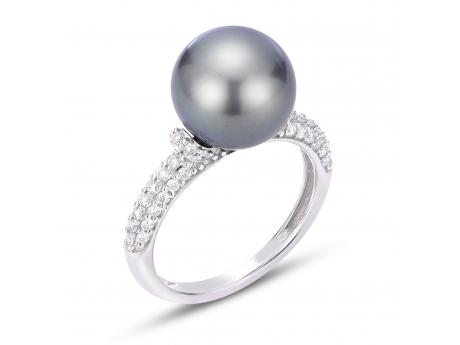 14K White Gold Tahitian Pearl Ring by Imperial Pearls