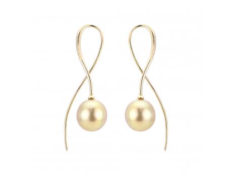 14K Yellow Gold Golden South Sea Pearl Earrings Cowardin's Jewelers Richmond, VA