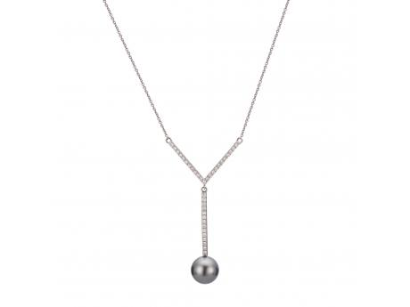 14K White Gold Tahitian Pearl Necklace Patterson's Diamond Center Mankato, MN