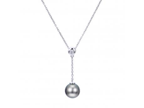 14K White Gold Tahitian Pearl Pendant by Imperial Pearls