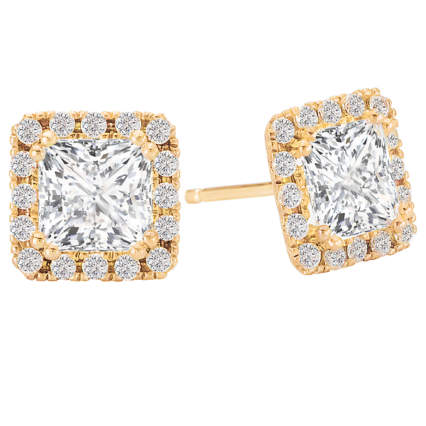 Diamond Halo Earrings by Tesoro