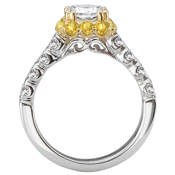 Rings - Two Tone Semi-Mount Diamond Ring - image 2