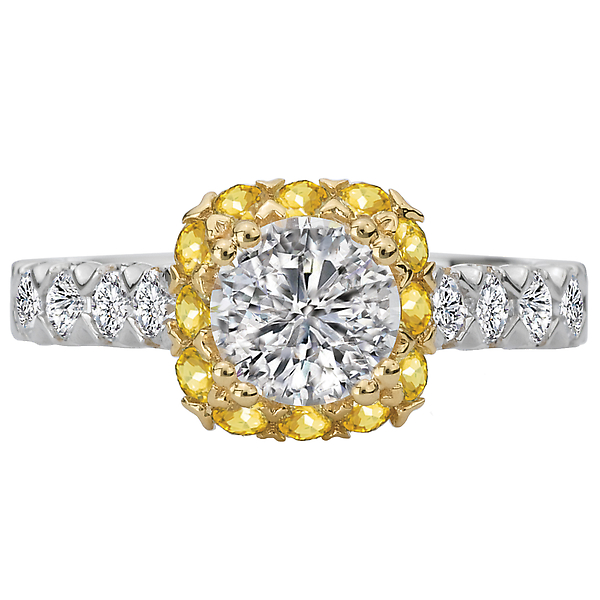 Rings - Two Tone Semi-Mount Diamond Ring - image #4