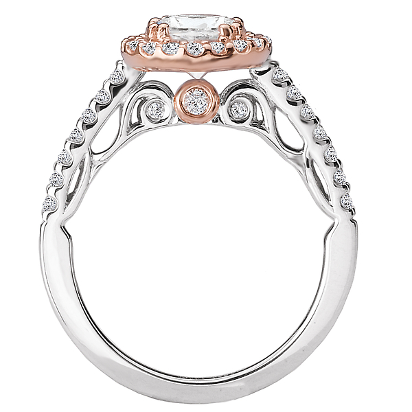Rings - Two Tone Semi-Mount Diamond Ring - image #2