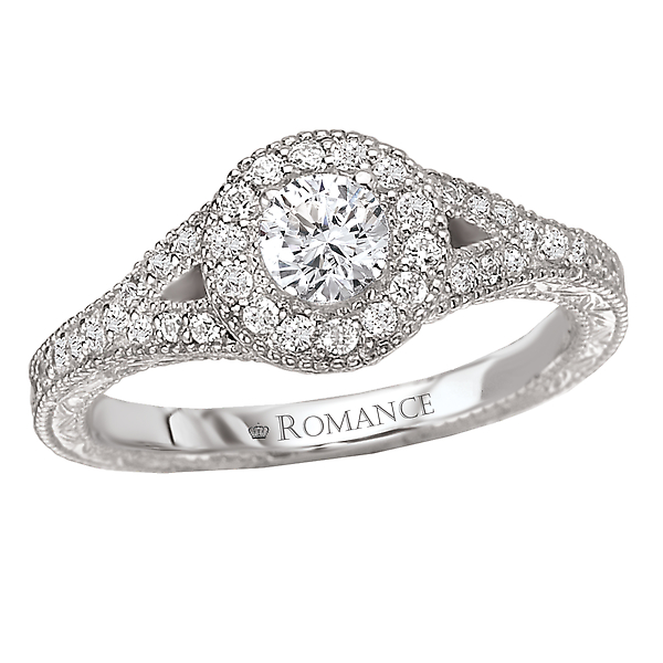 Split Shank Halo Complete Ring by Romance Diamond