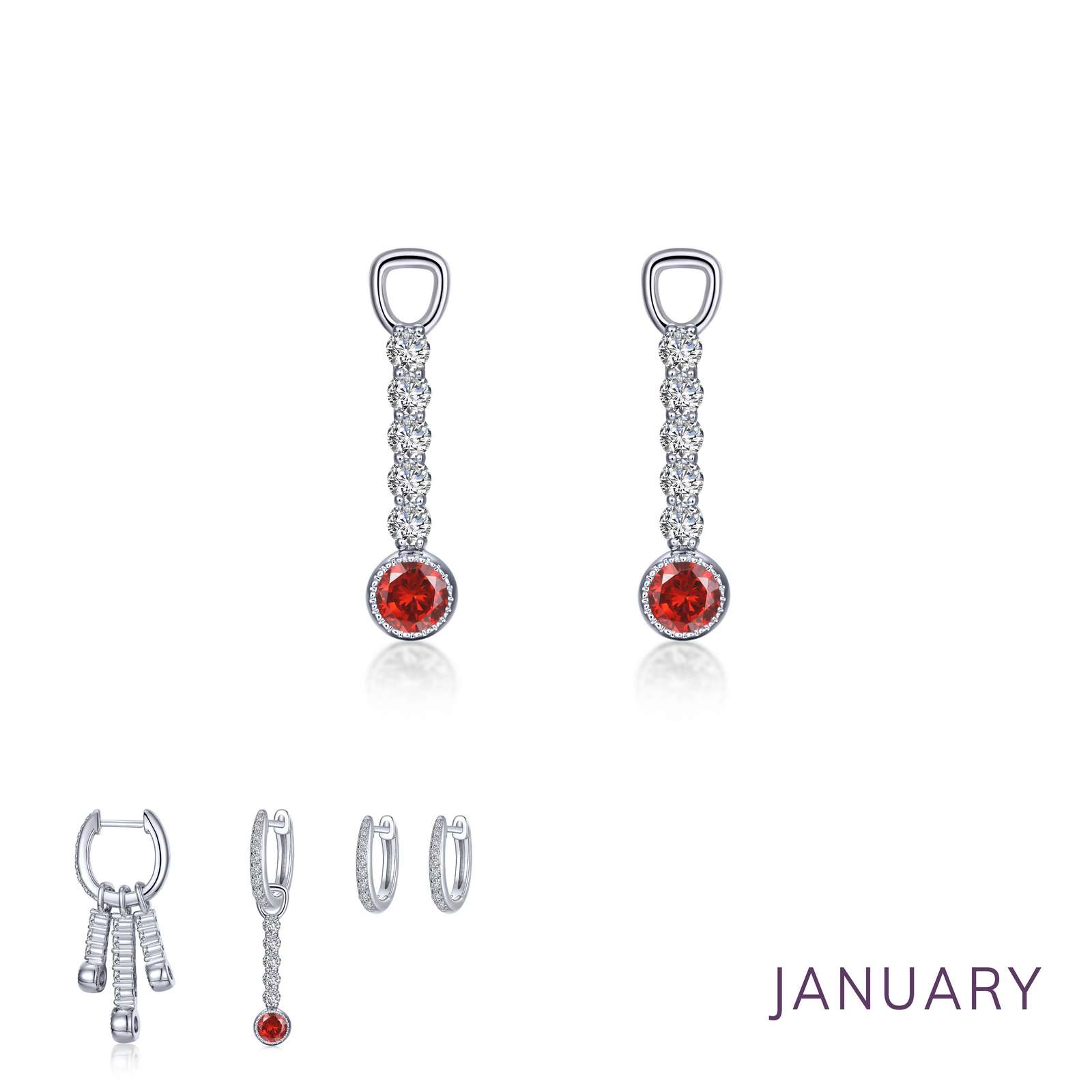 Birthstone January Platinum Bonded Earrings by Lafonn