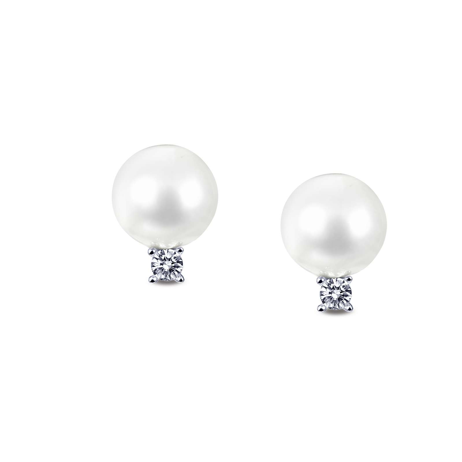 Classic Pearl Platinum Bonded Earrings by Lafonn Jewelry