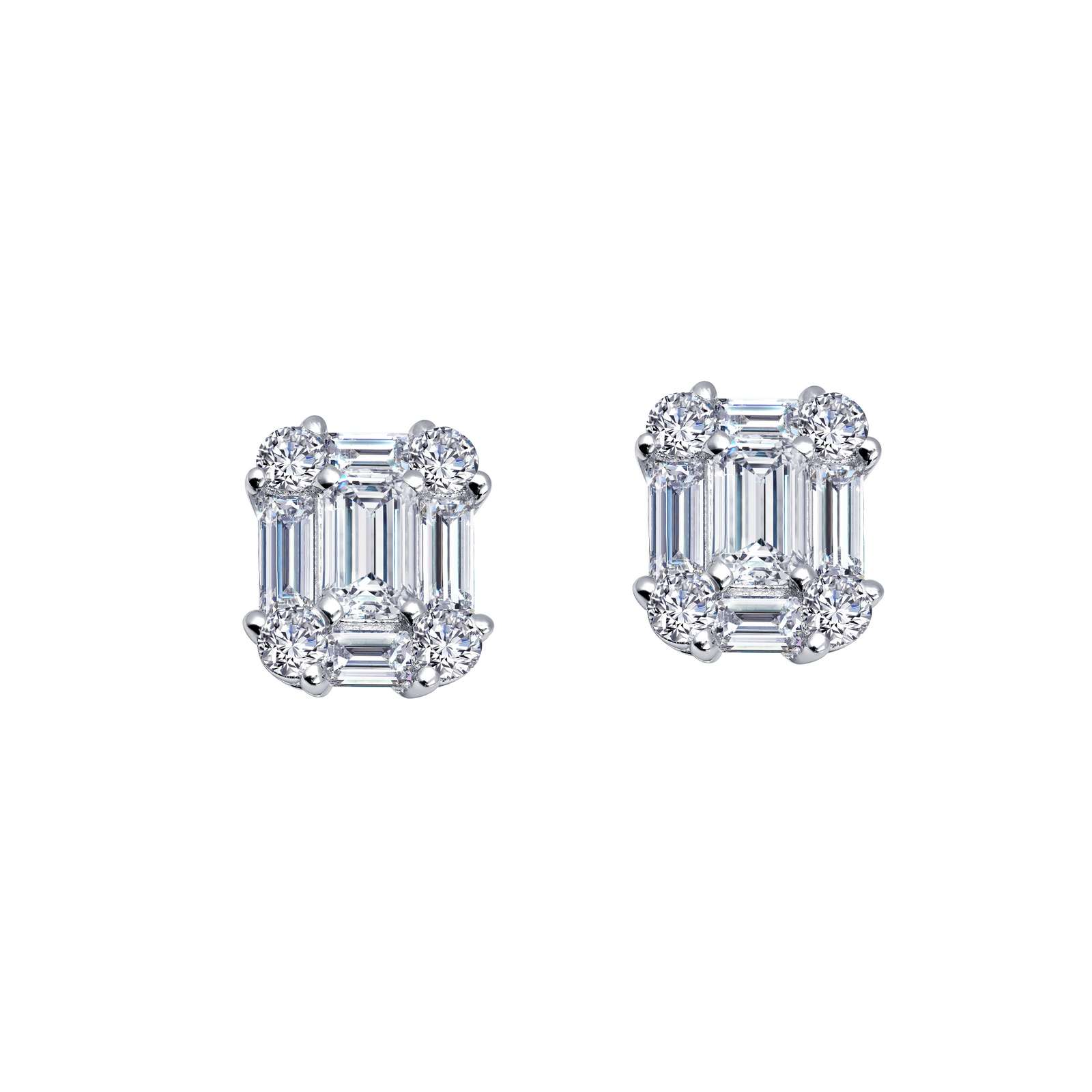 Classic Simulated Diamond Platinum Earrings by Lafonn Jewelry