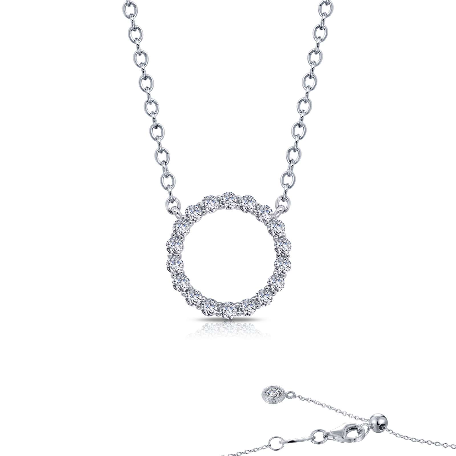 Classic Simulated Diamond Platinum Bonded Necklace by Lafonn Jewelry