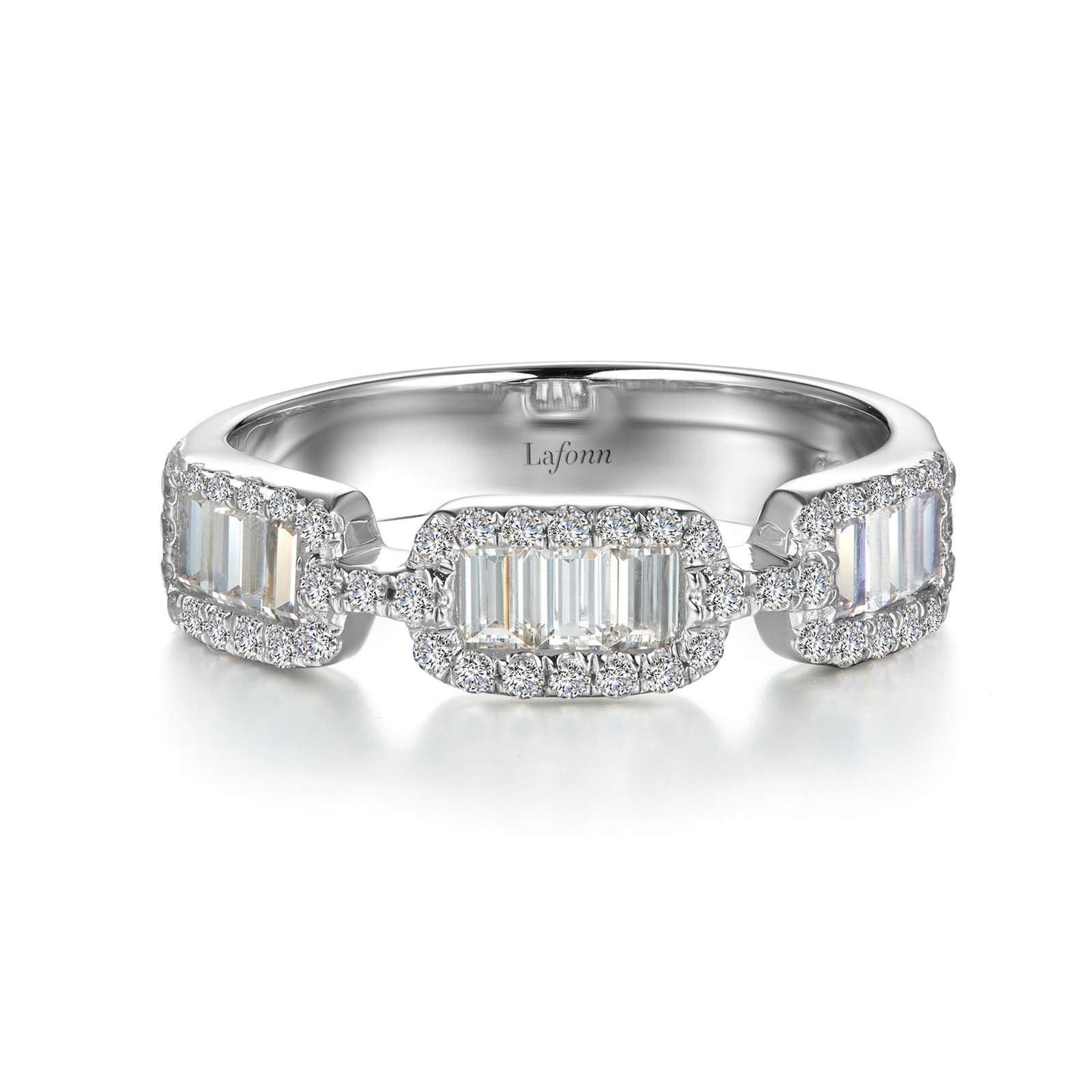 Stackables Simulated Diamond Platinum Ring by Lafonn Jewelry