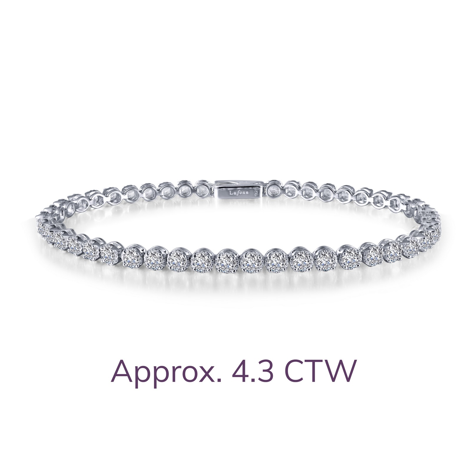 B0034CLP65 - Timeless classics for everyday wear. This sparkly tennis bracelet is bezel-set with Lafonn's signature Lassaire simulated diamonds in sterling silver bonded with platinum. MSRP: $230 CTTW: 4.29 STONE COUNT: 39