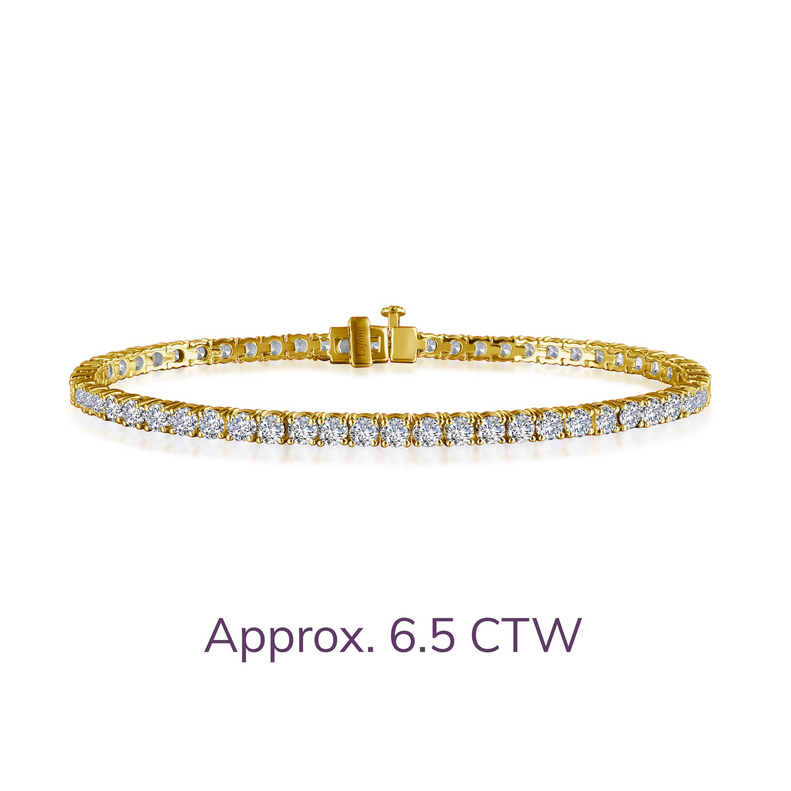 B2001CLG72 - Timeless classics for everyday wear. This tennis bracelet is set with Lafonn's signature Lassaire simulated diamonds in gold plated sterling silver. MSRP: $265 CTTW: 6.27 STONE COUNT: 57