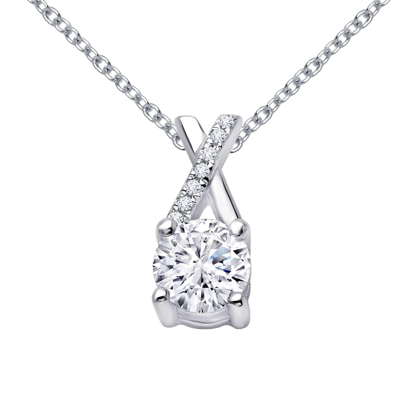 Classic Simulated Diamond Platinum Necklace P2013CLP18