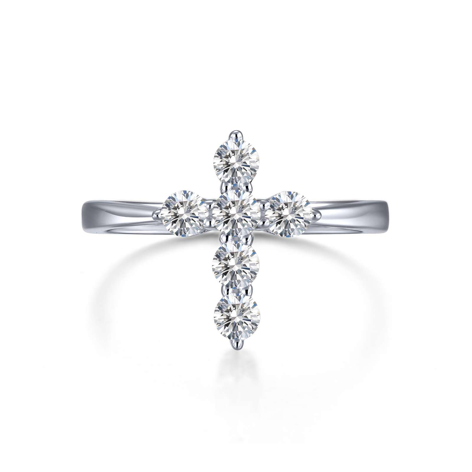 Classic Simulated Diamond Platinum Bonded Ring by Lafonn Jewelry