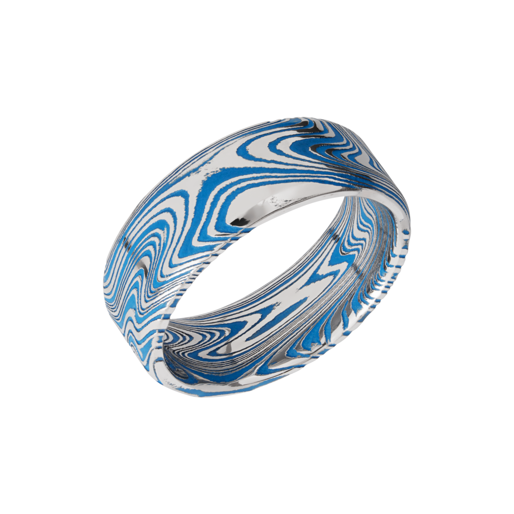 Damascus Steel & Cerakote Wedding Band by Lashbrook Designs