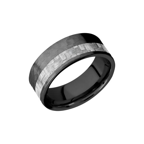 It is a graphic of Carbon Fiber & Zirconium Wedding Band
