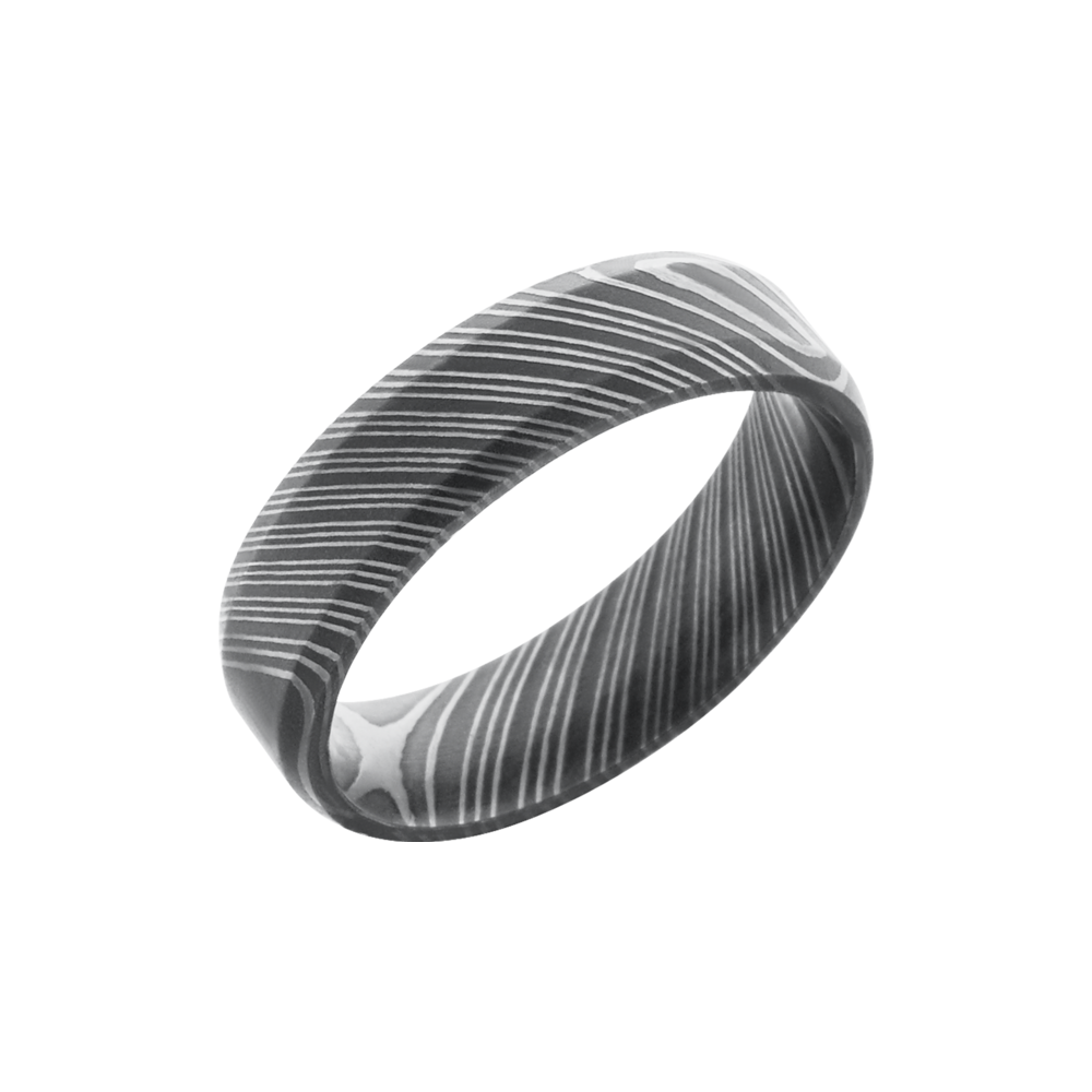 Handmade 6mm Damascus Steel Beveled Band by Lashbrook Designs