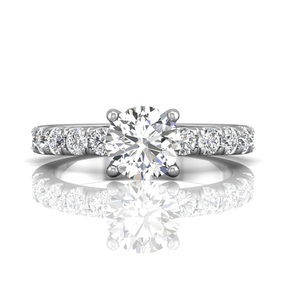 14K White Gold FlyerFit Micropave Engagement Ring Grogan Jewelers Florence, AL