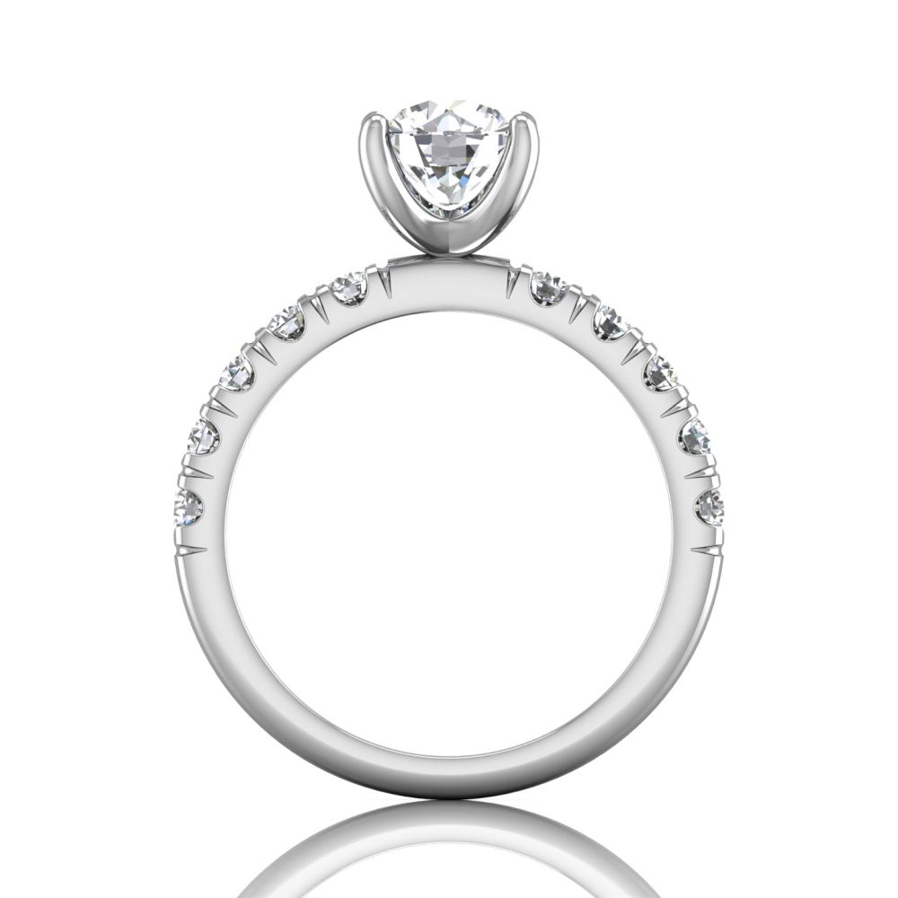 14K White Gold FlyerFit Micropave Engagement Ring Image 2 Grogan Jewelers Florence, AL