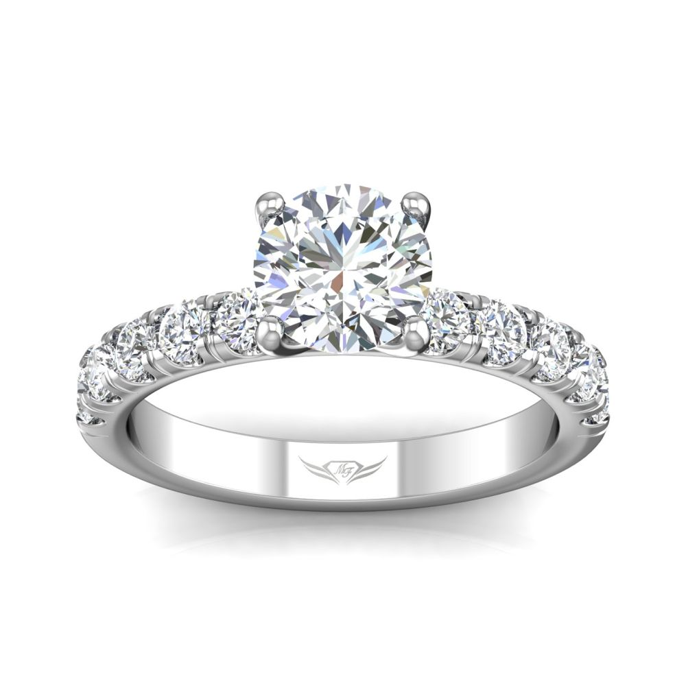 14K White Gold FlyerFit Micropave Engagement Ring Image 3 Grogan Jewelers Florence, AL