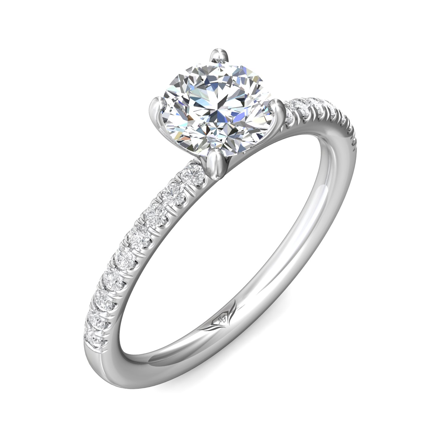14K White Gold FlyerFit Micropave Engagement Ring Image 5 Grogan Jewelers Florence, AL