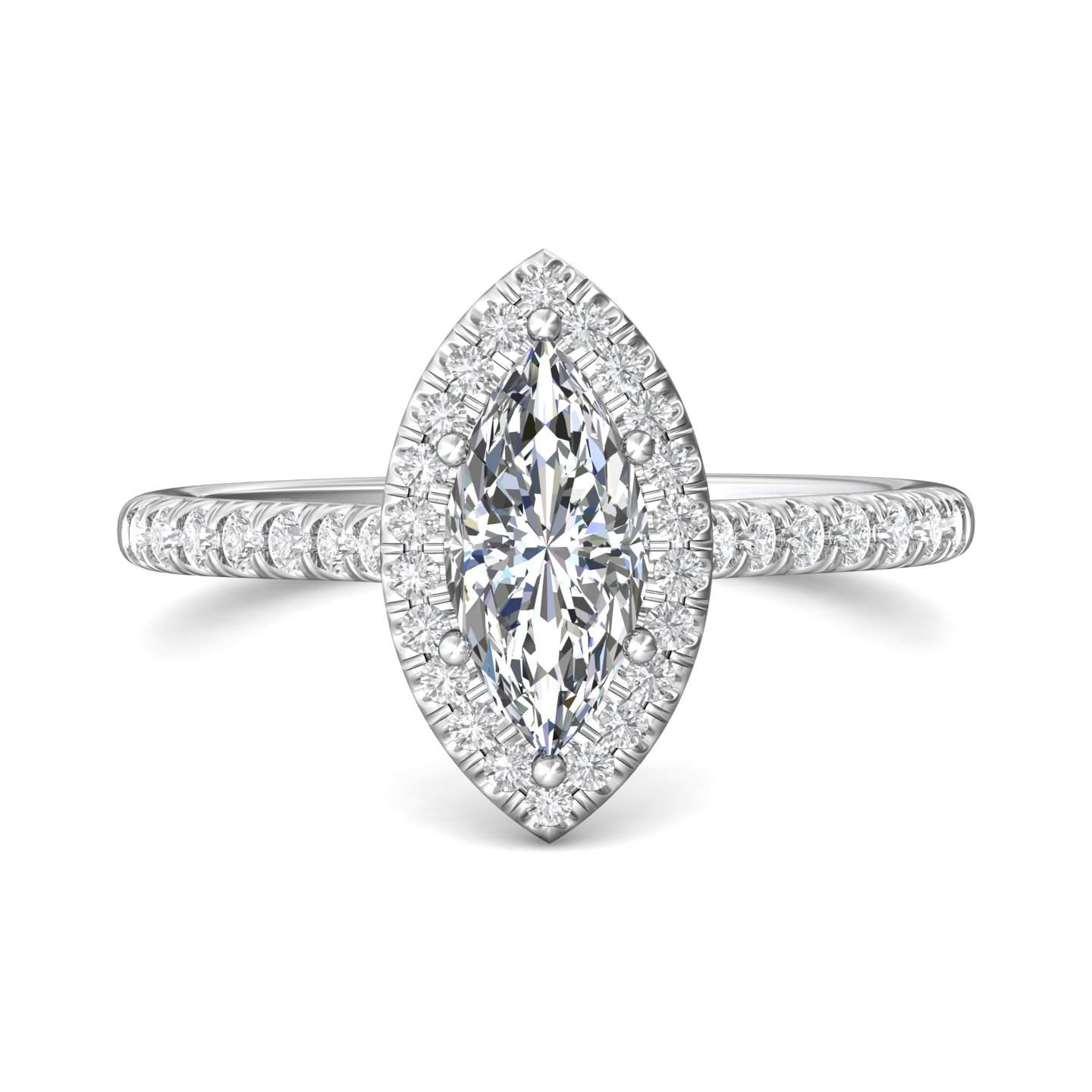 14K White Gold FlyerFit Micropave Halo Engagement Ring Grogan Jewelers Florence, AL