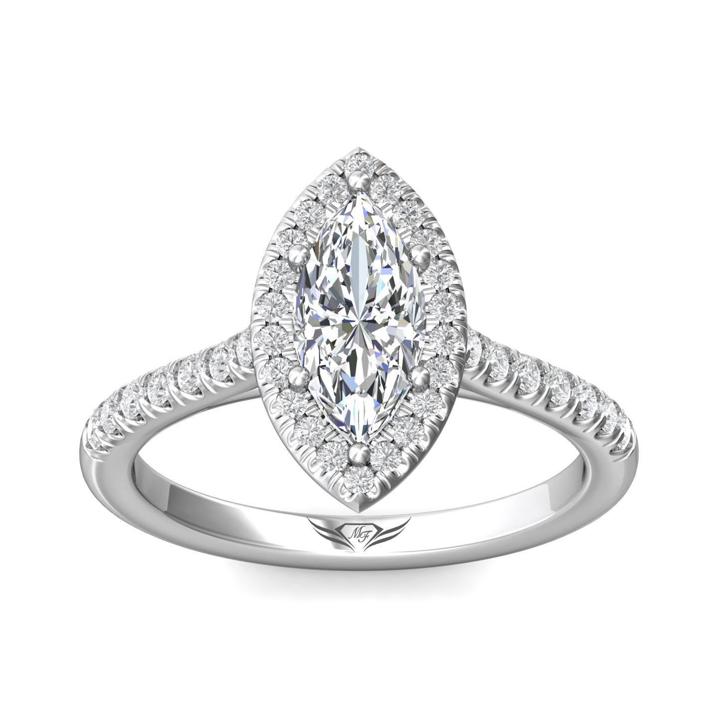 14K White Gold FlyerFit Micropave Halo Engagement Ring Image 3 Grogan Jewelers Florence, AL