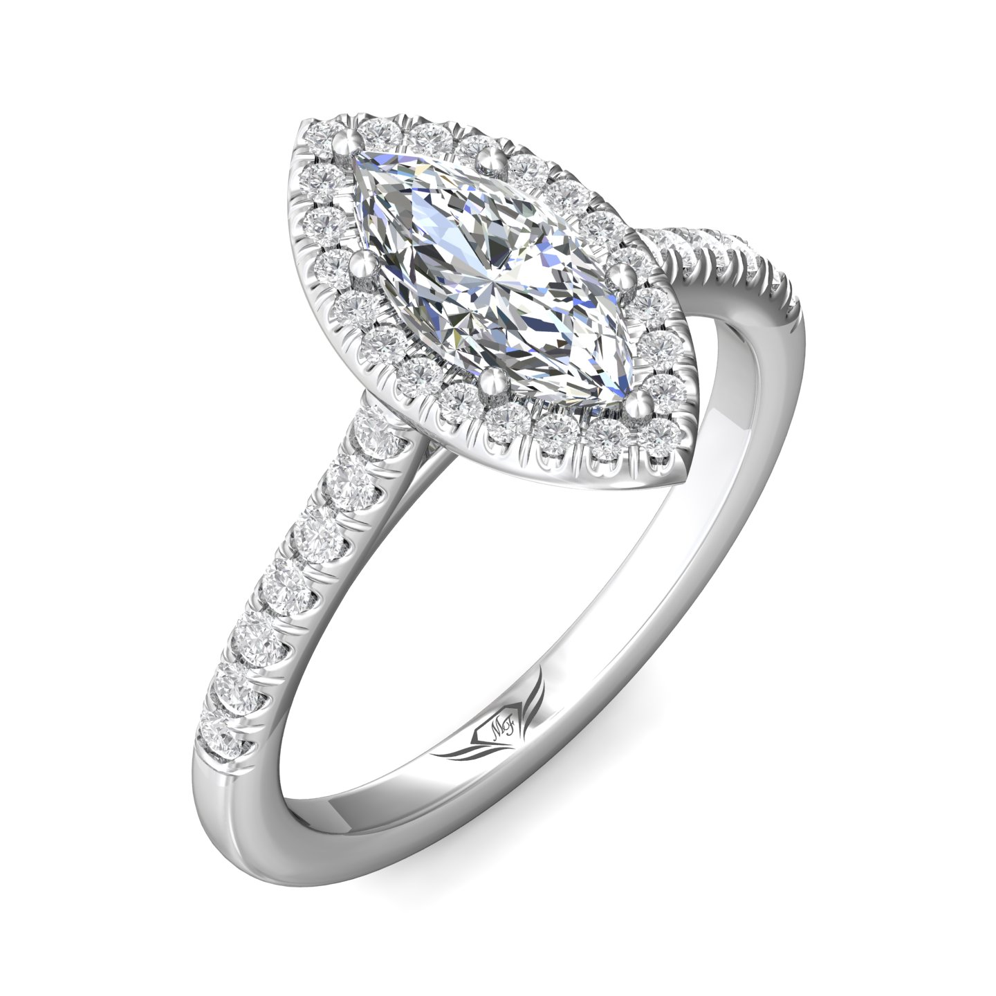 14K White Gold FlyerFit Micropave Halo Engagement Ring Image 5 Grogan Jewelers Florence, AL