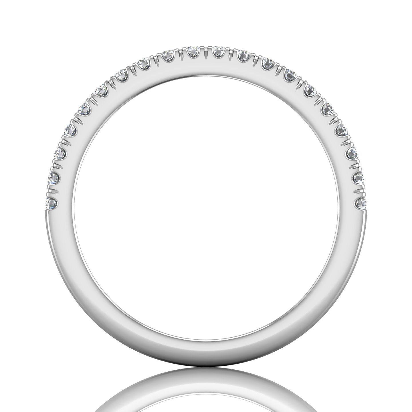 14K White Gold FlyerFit Micropave Cutdown Wedding Band Image 2 Grogan Jewelers Florence, AL