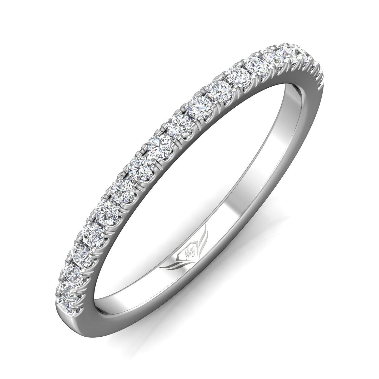 14K White Gold FlyerFit Micropave Cutdown Wedding Band Image 5 Grogan Jewelers Florence, AL