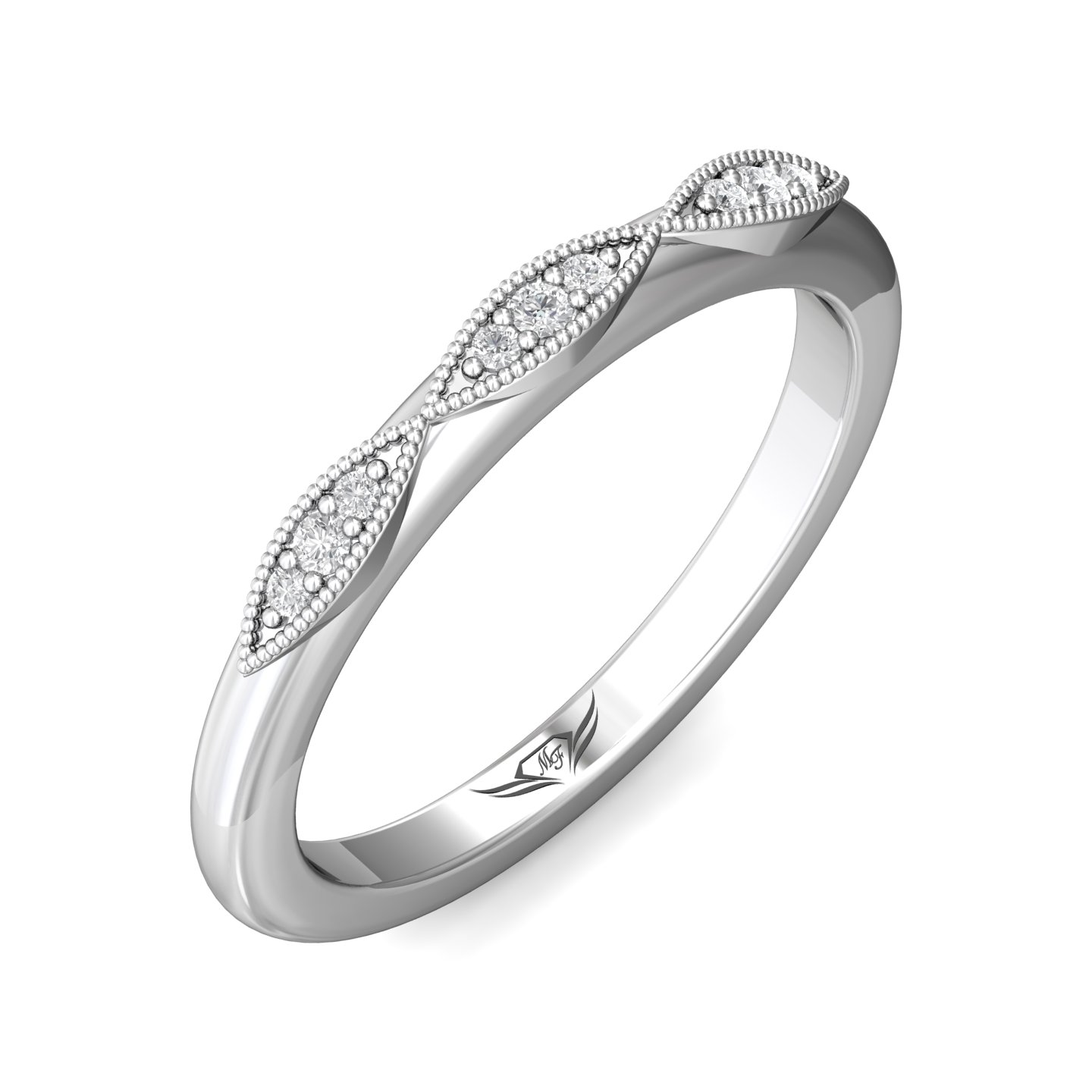 14K White Gold FlyerFit Micropave Bead Set Wedding Band Image 5 Grogan Jewelers Florence, AL