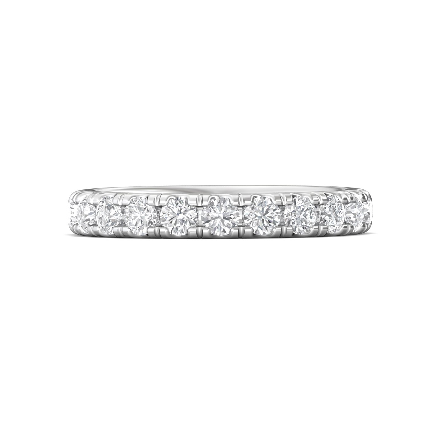 14K White Gold FlyerFit Micropave Cutdown Wedding Band Grogan Jewelers Florence, AL