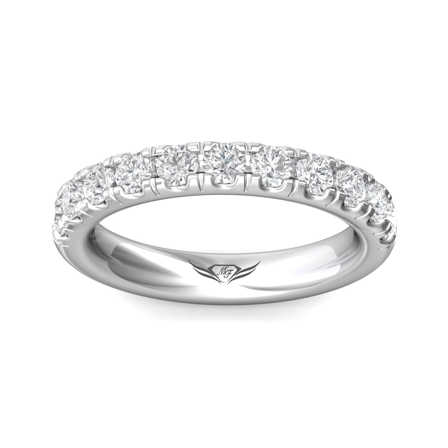 14K White Gold FlyerFit Micropave Cutdown Wedding Band Image 3 Grogan Jewelers Florence, AL