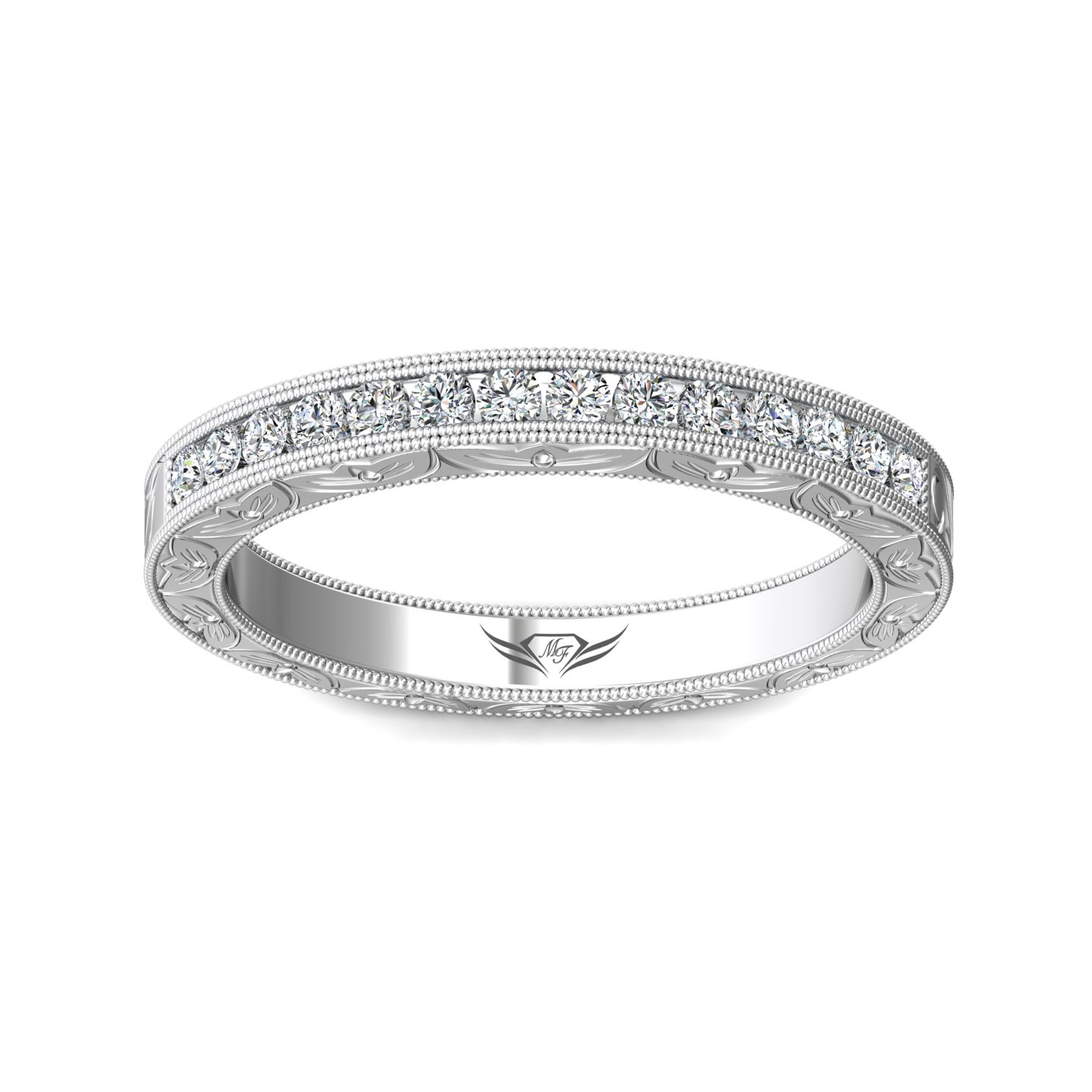14K White Gold FlyerFit Vintage Wedding Band Image 3 Grogan Jewelers Florence, AL