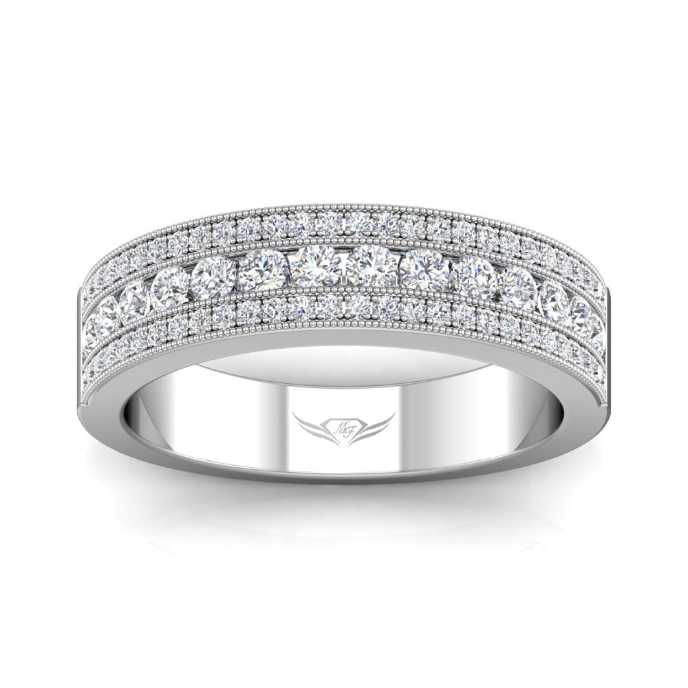 Rings - 14K White Gold FlyerFit Channel Wedding Band - image #3