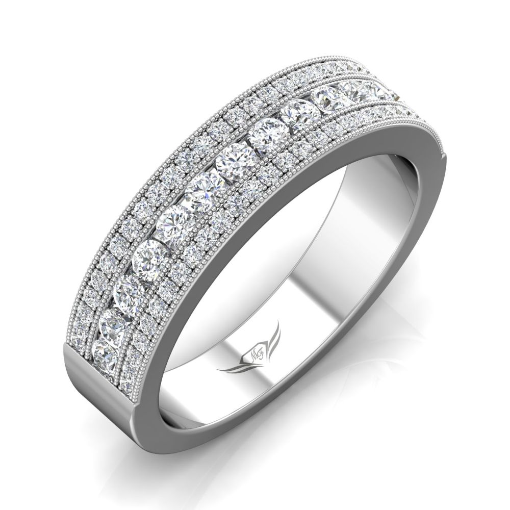 Rings - 14K White Gold FlyerFit Channel Wedding Band - image #5