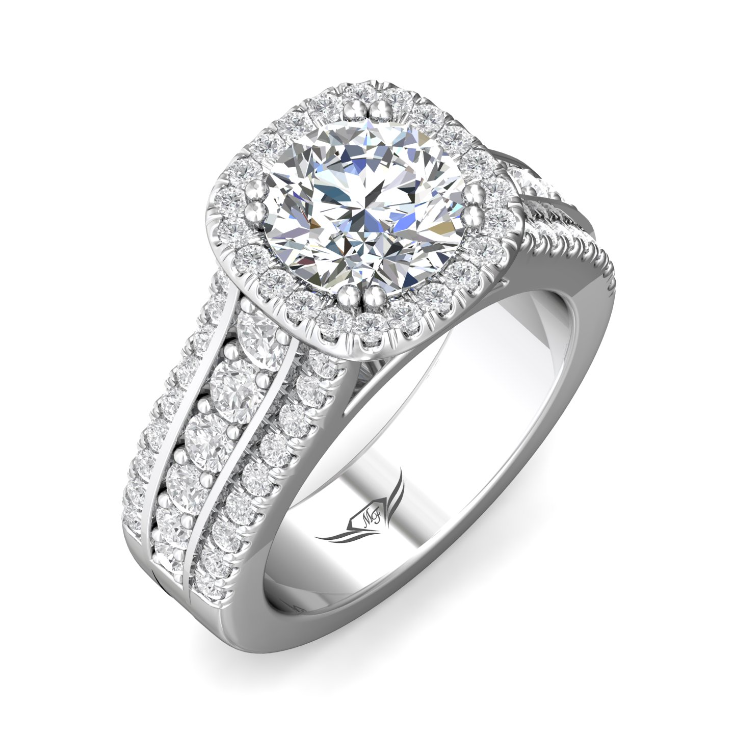Rings - 14K White Gold FlyerFit Encore Engagement Ring - image #5