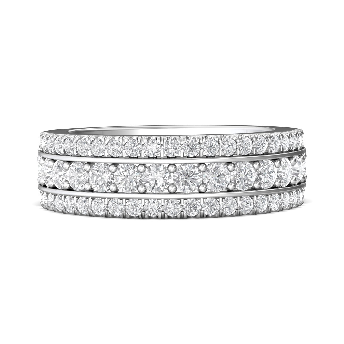 Rings - 14K White Gold FlyerFit Channel Wedding Band
