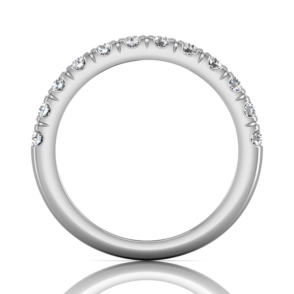 Rings - 14K White Gold FlyerFit Micropave Cutdown Wedding Band - image #2