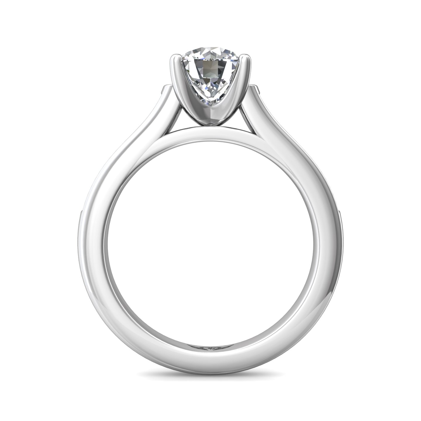 Rings - 14K White Gold FlyerFit Channel/Shared Prong Engagement Ring - image 2