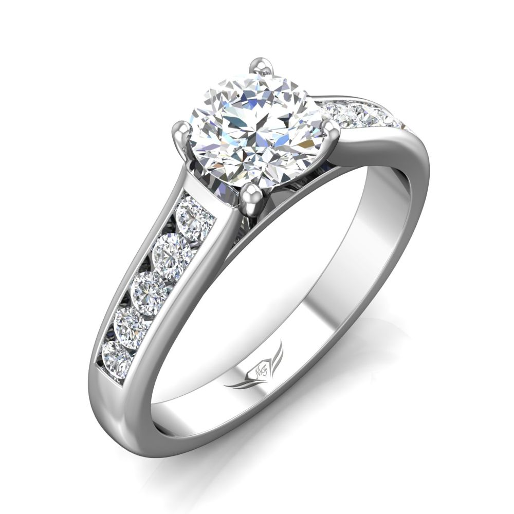 Rings - 14K White Gold FlyerFit Channel/Shared Prong Engagement Ring - image 5