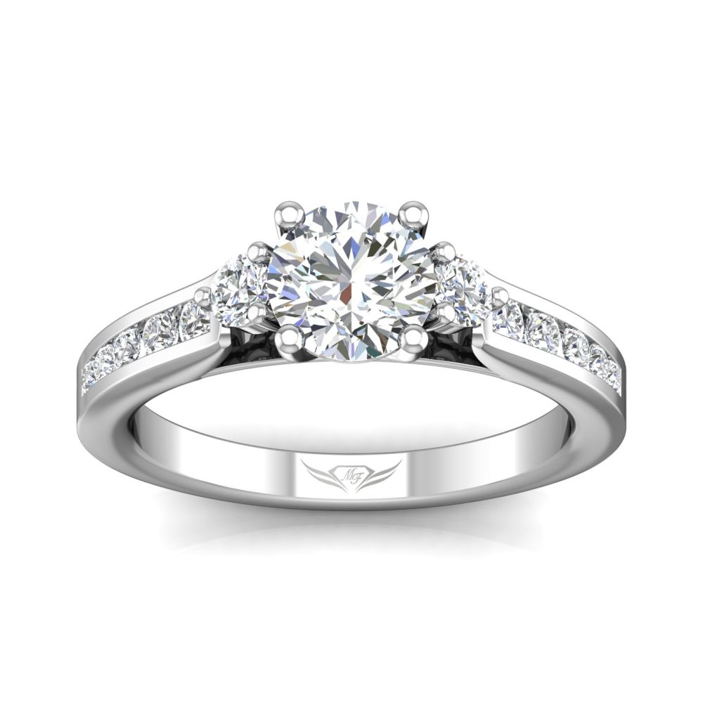 Rings - 14K White Gold FlyerFit Channel/Shared Prong Engagement Ring - image #3