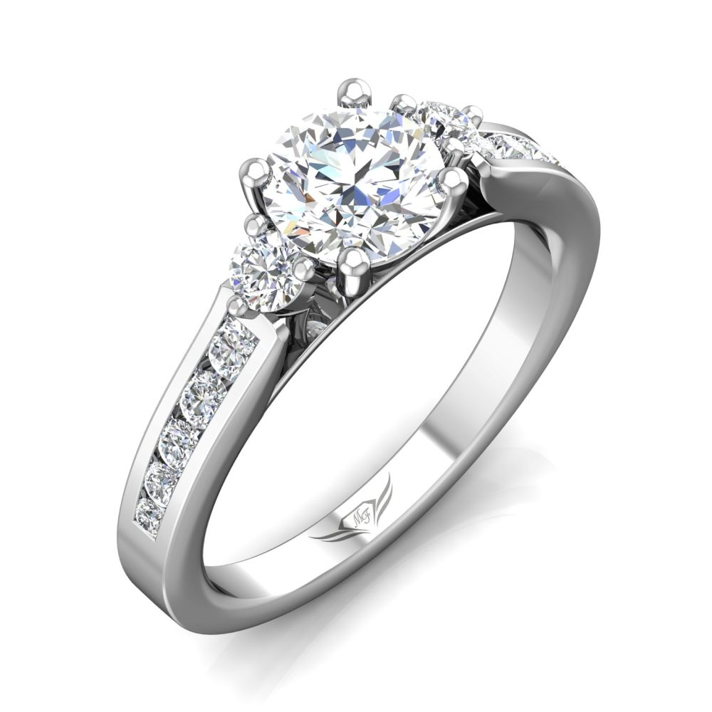 Rings - 14K White Gold FlyerFit Channel/Shared Prong Engagement Ring - image #5